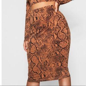 Boohoo Tan Snake Print Midi Skirt *Never Worn*